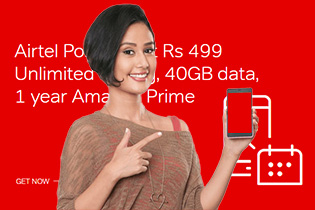 Airtel Postpaid at Rs  499, Unlimited Calling, 40GB data, 1 year